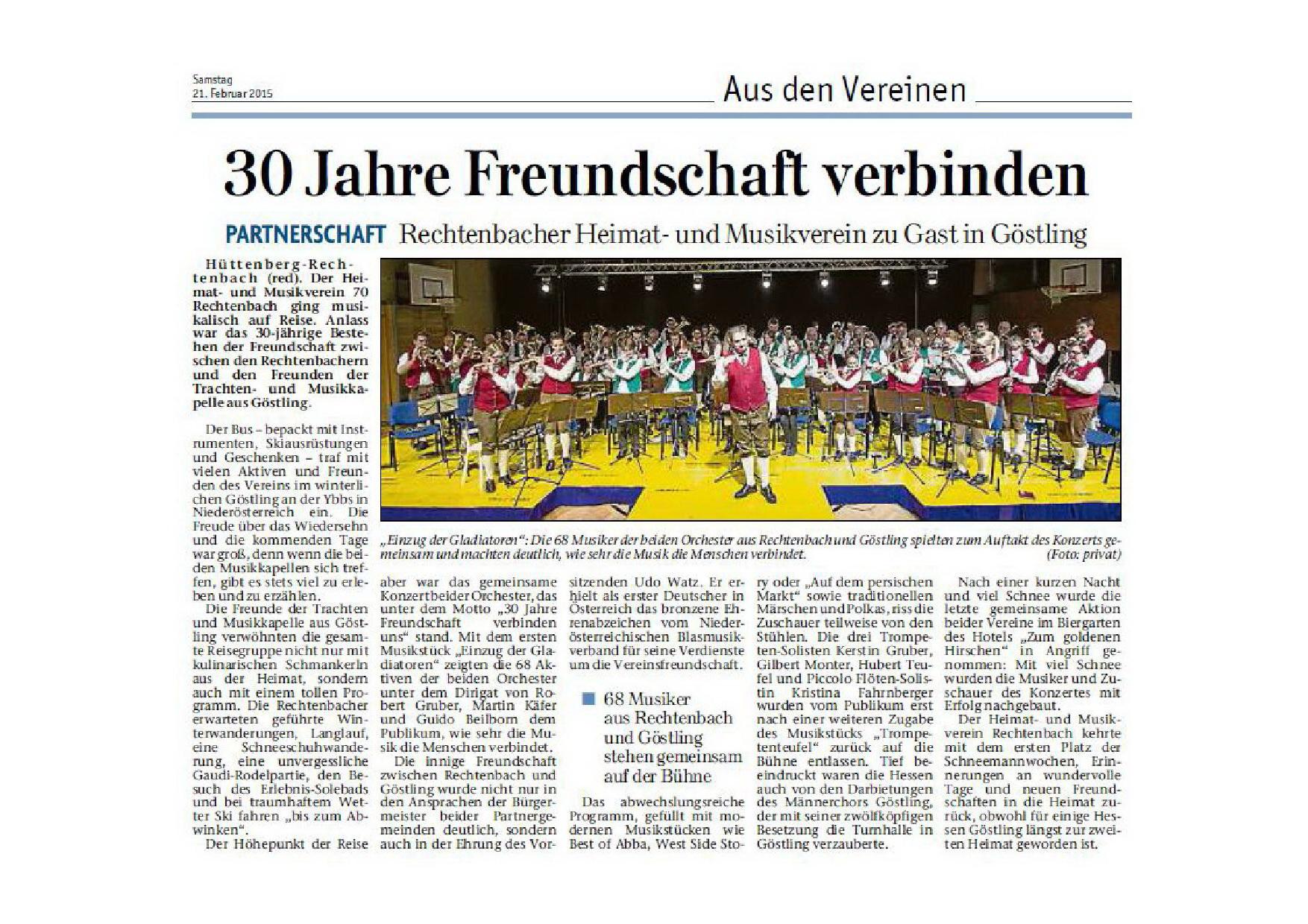 Pressebericht 30 Jahre Freundschaft